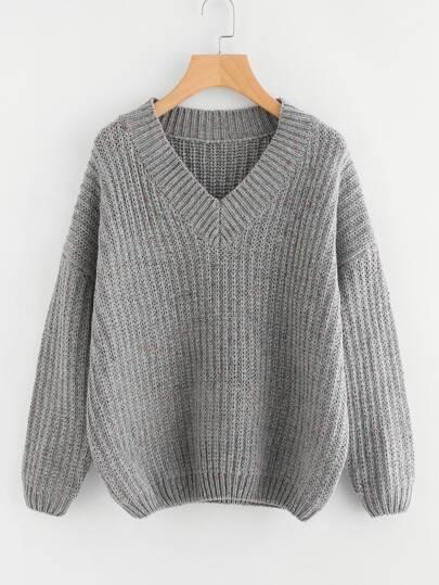 Drop Shoulder Flecked Cocoon Sweater