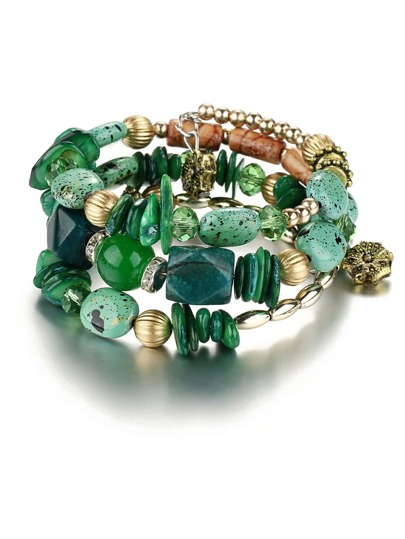 Mixed Shape Charm Beaded Layered Bracelet
