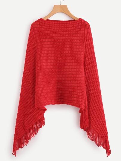 Fringe Hem Poncho Sweater