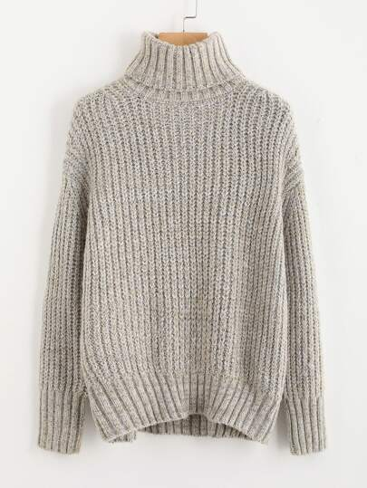 Drop Shoulder Roll Neck Jumper