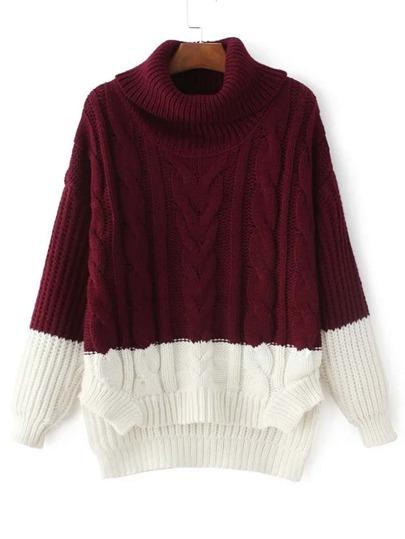 Zweifarbiger Strick Pullover mit abfallendem Saum