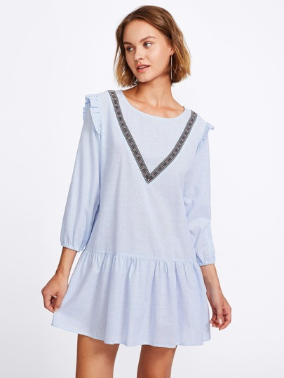 Embroidered Tape Detail Frilled Pinstripe Smock Dress