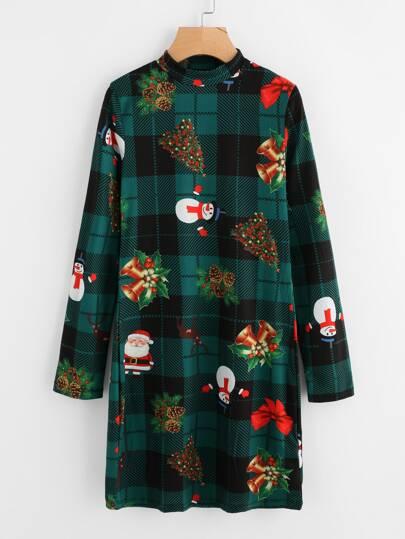 Mock Neck Christmas Print Dress
