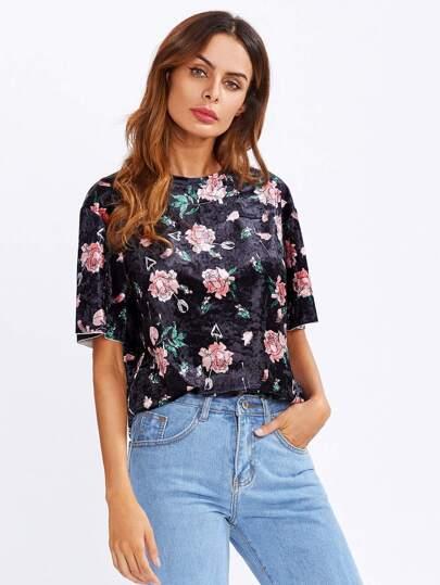 Samt T-Shirt mit Blumenmuster