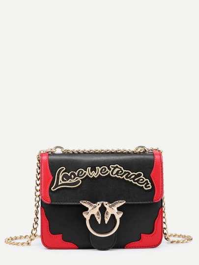 Tasche mit doppel Vogelschnallen,Kette und Buchstaben