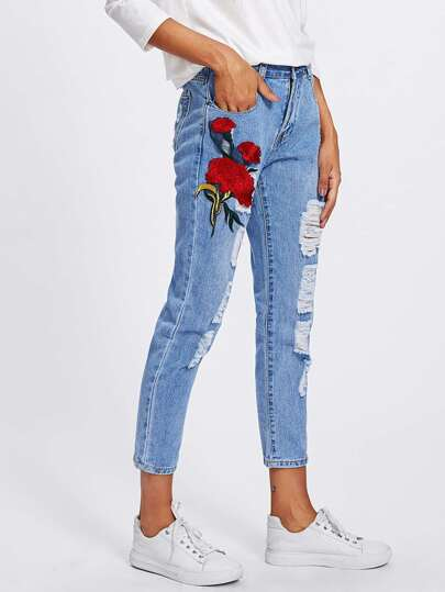 Flower Appliques Ripped Jeans