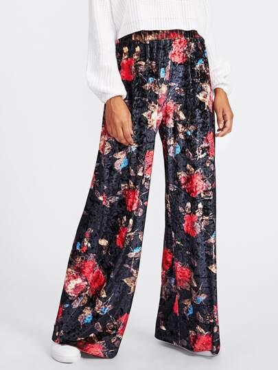 Pantalones florales de terciopelo