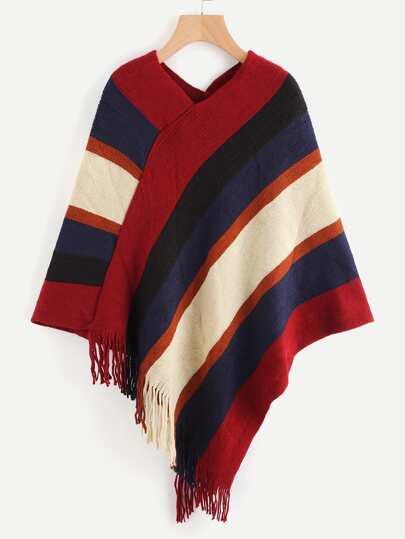 Wide Striped Fringe Trim Cloak Top