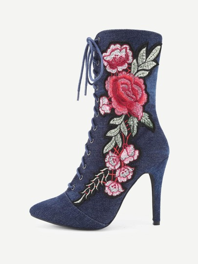 Rose Applique Pointed Toe Stiletto Boots