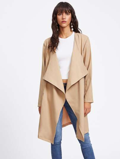 Tie Waist Open Front Draped Coat