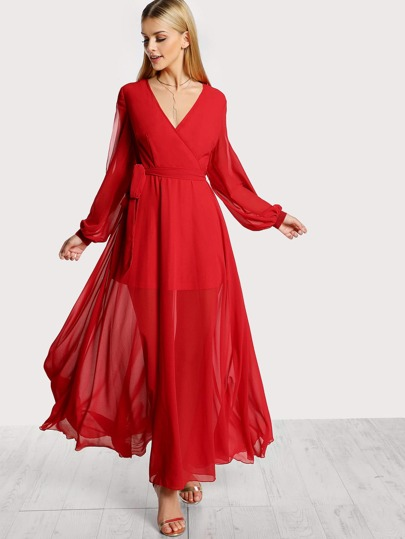 Cutout Lantern Sleeve Surplice Wrap Flowy Dress
