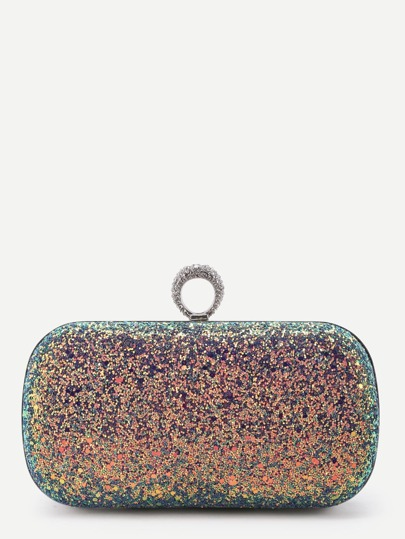 Glitter Overlay Iridescent Chain Crossbody Bag