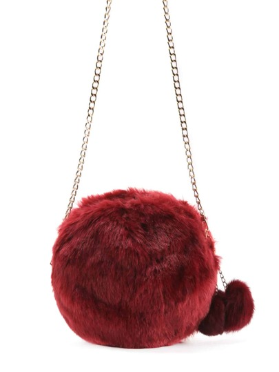 Faux Fur Overlay Crossbody Bag With Pom Pom