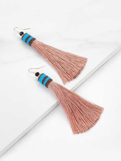 Beads Detail Tassel Drop Earrings