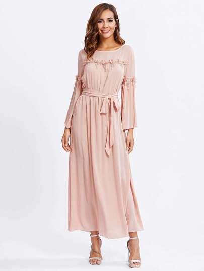Flower Applique Detail Hijab Evening Dress