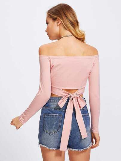 Bardot Bow Tie Back Crop Tee