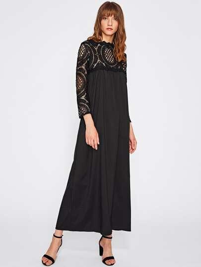 Lace Crochet Yoke And Sleeve Zipper Back Dress