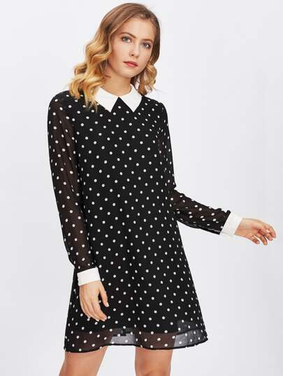 Contrast Collar And Cuff Polka Dot Dress