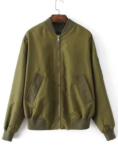 Zipper Back Bomber Jacket