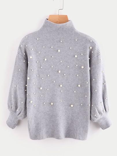 Suéter de manga globo de cuello alto con perlas
