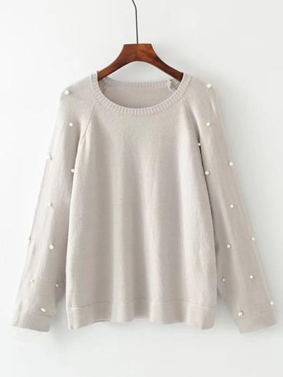 Faux Pearl Raglan Sleeve Knitwear