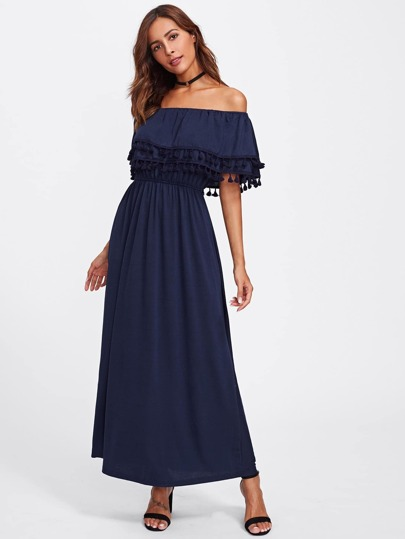 Flounce Layered Neckline Tassel Hem Dress