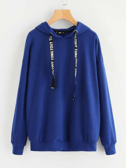 Drop Shoulder Printed Drawstring Hoodie