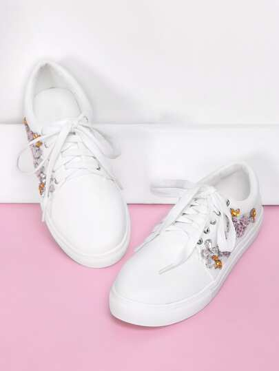 Rhinestone Flower Decorated Lace Up Sneakers