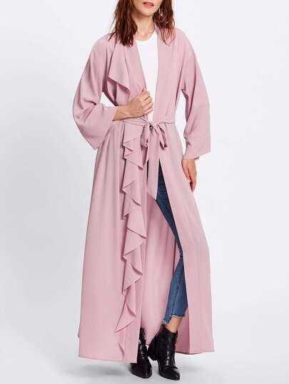 One Side Frill Trim Belted Abaya