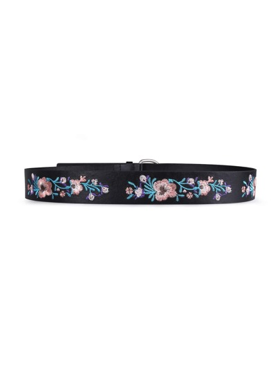 Flower Embroidery D Ring Belt