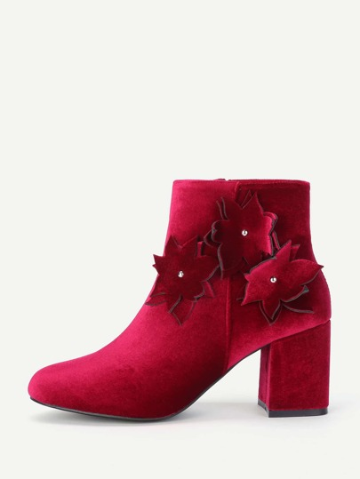 Flower Side Block Heeled Ankle Boots