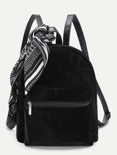 Pocket Front Backpack With Scarf