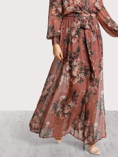 Floral Print Sheer Skirt MARSALA