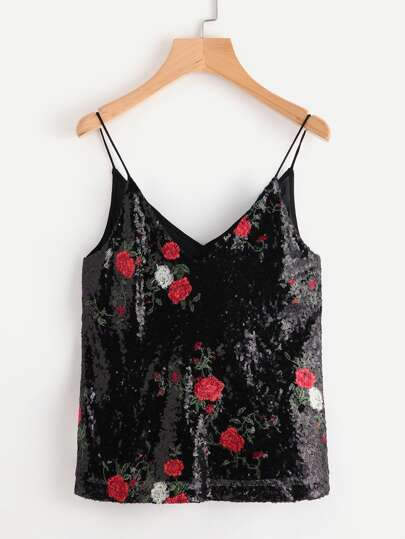 Dual V Neck Embroidery Sequin Cami Top