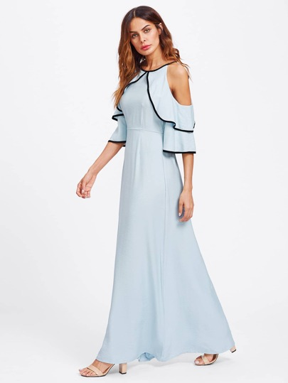 Flounce Open Shoulder Bell Sleeve Contrast Binding Dress