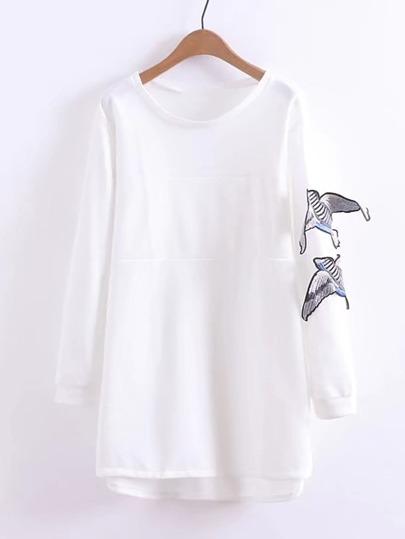 Bird Applique Dip Hem Sweatshirt Dress