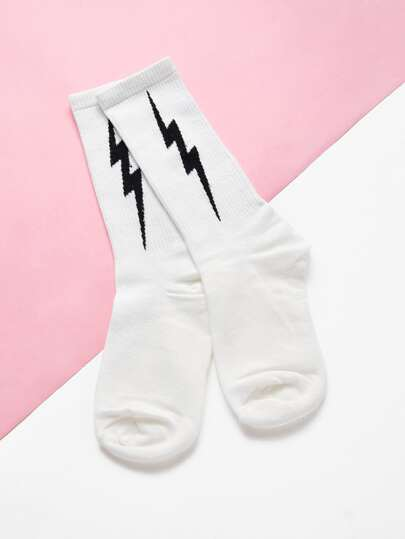 Flash Print Calf Length Socks