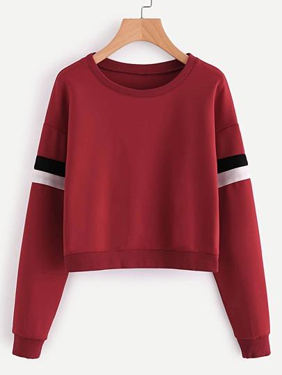 Contrast Striped Sleeve Sweatshirt