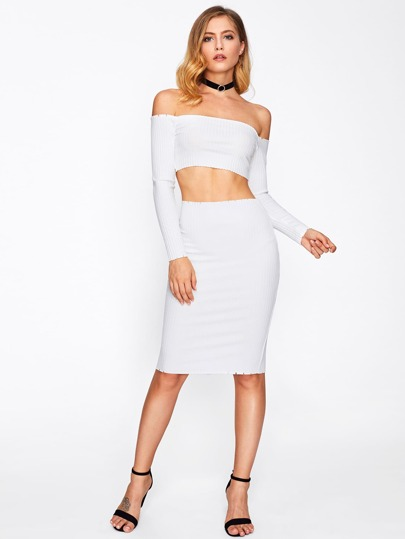 Off Shoulder Crop Top With Pencil Skirt