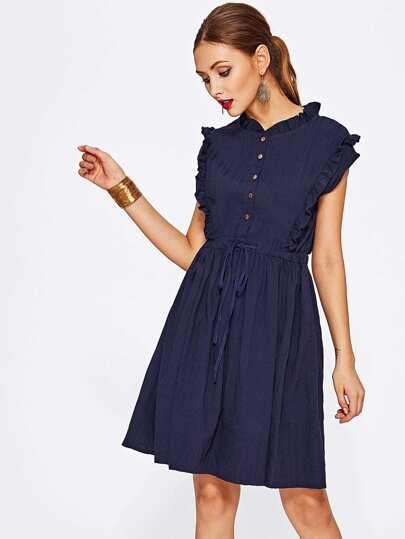 Tie Waist Ruffle Shirt Dress