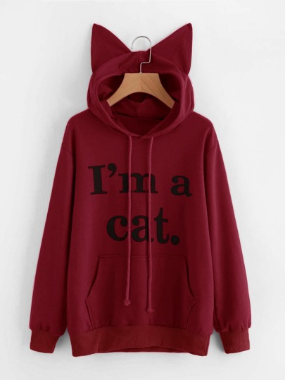 Sweat à capuche en forme d\'oreille du chat imprimé du slogan