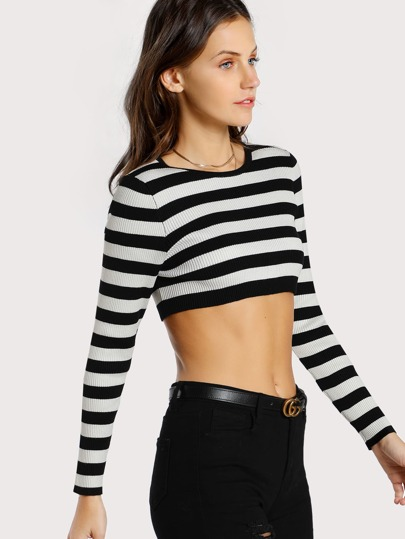 Striped Long Sleeve Crop Top BLACK WHITE