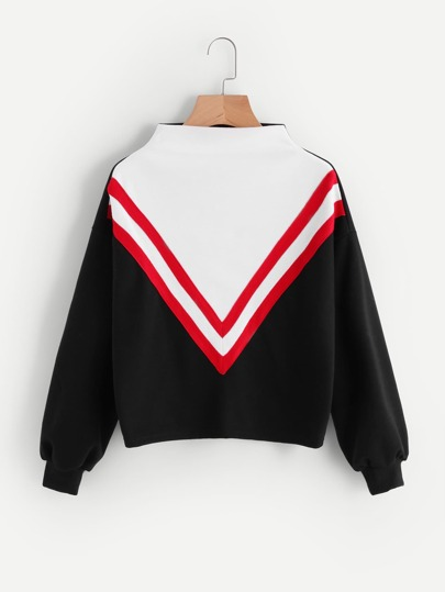 Mock Neck Cut And Sew Sweatshirt