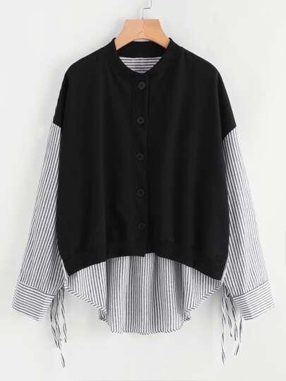 Drop Shoulder Tie Sleeve High Low Contrast Coat