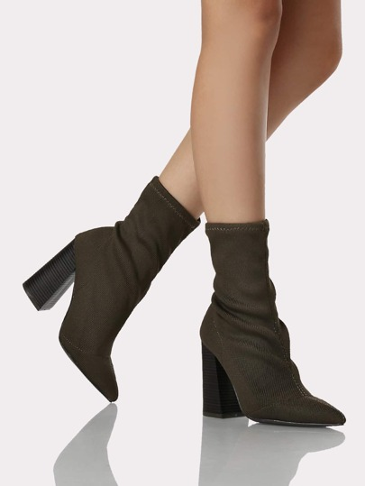 Point Toe Wood Heel Booties OLIVE