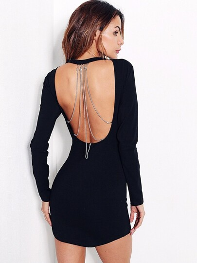 Open Back Chain Detail Bodycon Dress