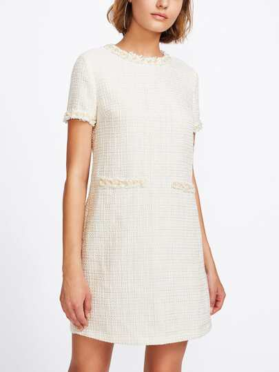 Pearl Beading Tweed Dress