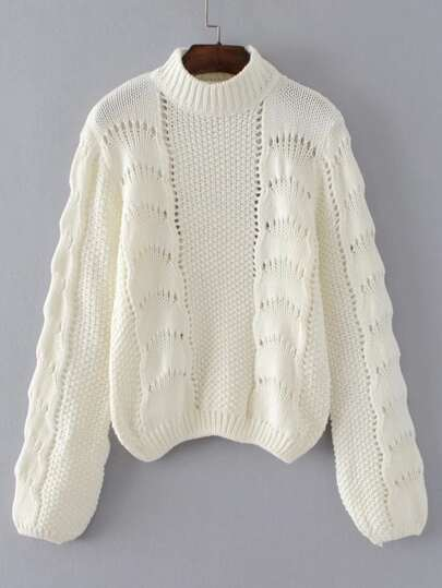 Crochet Detail Crew Neck Jumper Sweater