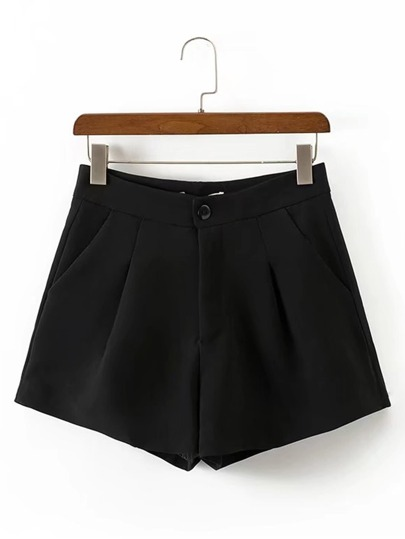 Pleated Detail High Waist Shorts