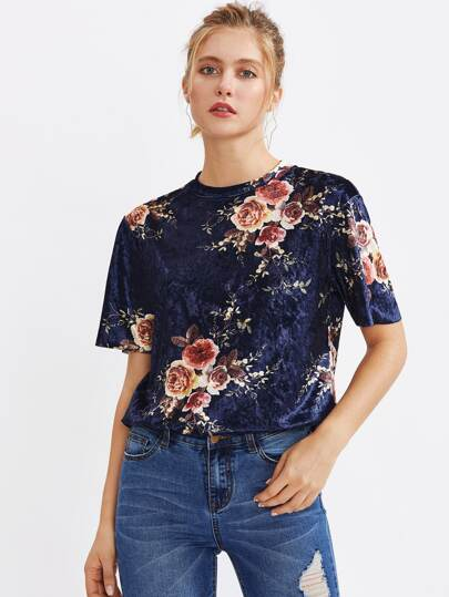 Camiseta de terciopelo con estampado de flor
